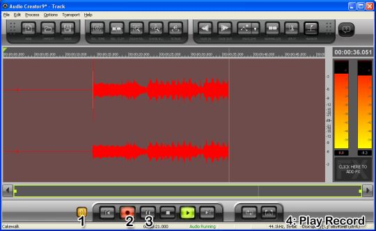 Screenshot of Cakewalk pyro Audio Creator LE. A '1' is over the Monitor Audio button. A '2' is over the Record button. A '3' is over the Pause button. A final label, '4', reads 'Play Record.'