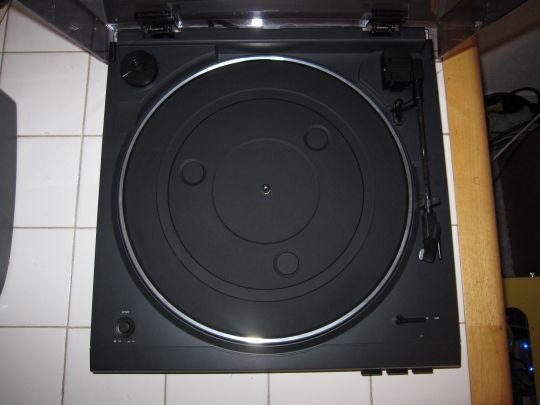 Photo shows a fully assembled Audio-Technica AT-LP2D-USB turnable from above.