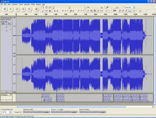 Audacity screenshot shows a waveform where several sections exceed the maximum volume. These sections are indicated by labels below the waveform.