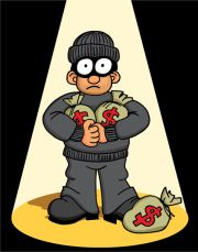 Cartoon of a spotlight shining on a robber in black holding bags of money. He has a surprised look on his face.