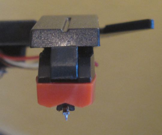 Close-up photo shows a second crooked stylus attached to the Grace Digital Audio Vinylwriter (AVPUSB01S) USB turntable.