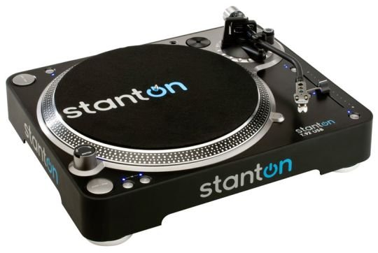 Marketing photo shows the Stanton T.92 USB Turntable from a top-side angle.