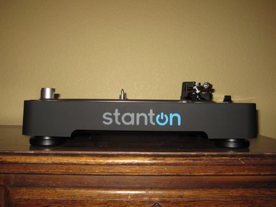 Photo shows the Stanton T.92 USB Turntable at eye-level. It appears bare as it has yet to be assembled.