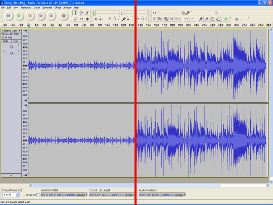 Audacity screenshot show a waveform split in the middle of the clip. The left side's waveform's peaks barely reach 0.2. The right side's peaks reach the top: 1.0.