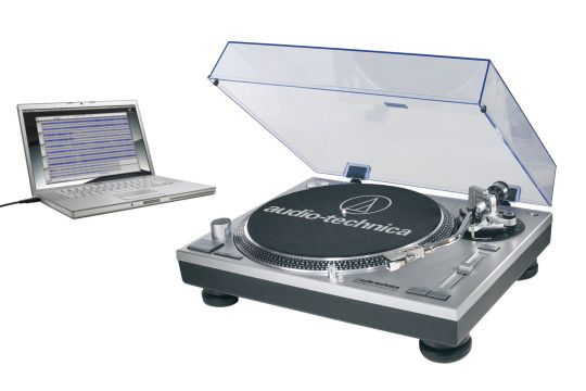 Marketing photo shows the Audio-Technica AT-LP120-USB connected via a USB cable to a laptop.