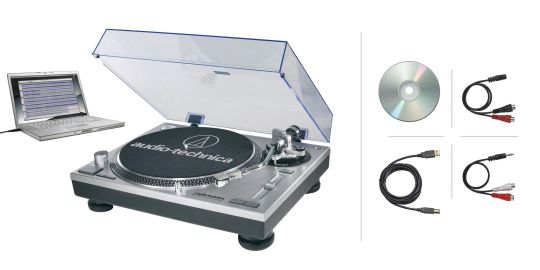 Marketing photo shows the Audio-Technica AT-LP120-USB with all included accessories surrounding the turntable.