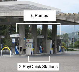 Photo shows six gas pumps with two 'PayQuick' payment stations in between.
