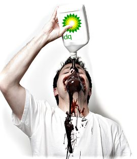 Man in white t-shirt pours a quart of BP oil on his face.