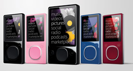 Line-up of Microsoft Zune media players.